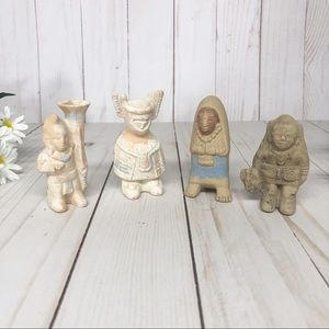 Vintage Mayan Clay Pottery Figures Figurines